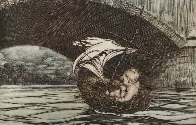 Houghton typ 905r.06.196 %28a%29   arthur rackham  peter pan   under the bridge